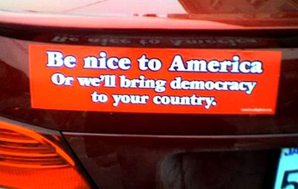 Bumper sayings funny democracy bumper sticker from united states